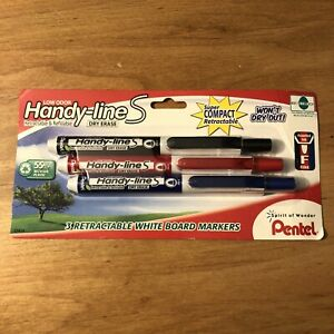 3 Pentel Handy line S Retractable White Board Markers Fine Blue Red Black