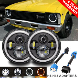 2x 7 Led Headlights Drl Turn Angel Eyes Ring Dot For Toyota 69 87 Corolla Truck