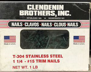 T 304 1lb Box 1 1 4 Stainless Steel 15 Trim Nails Clendenin Forest Green