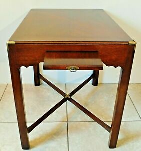 Henredon Scene One Campaign Style Brass Wood Side End Accent Writing Table