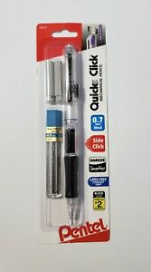 Pentel Quick Click 0 7 Mm Mechanical Pencil With 2 Erasers And 12 Refill Leads