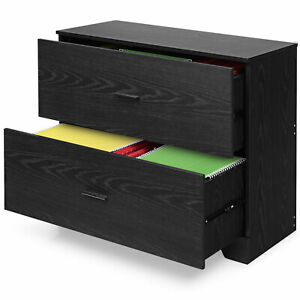 Costway 2 drawer Lateral File Cabinet W adjustable Bars For Home Office Black