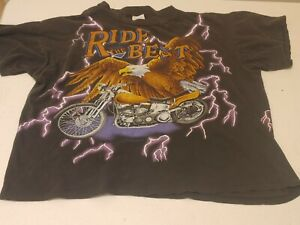 """Vintage American USA Thunder All Over Print """"Ride the Bestquot; Single Stitch SZ XL $54.95"""