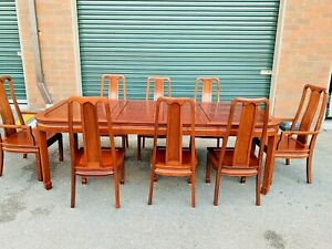 Beautiful Vintage Chinese Rosewood Expanding Oval Dining Table Set W 8 Chairs