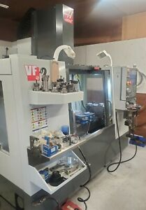 Haas Vf 2 Mill With Hrt 160 Rotary Table 8100 Rpm 30 Hp Probe Tool Setter