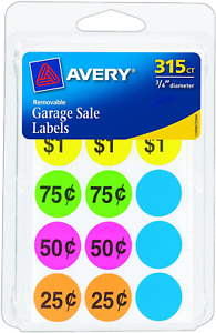 Avery Removable Garage Sale Labels Round Assorted Color 0 75 315 Ct