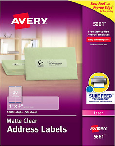 Avery Matte Clear Address Labels Laser Sure Feed Tech 1 X 4 1 000 Labels