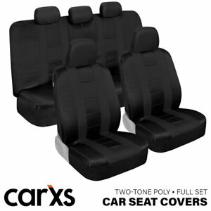 Car Seat Covers Front Rear Bench Full Set For Auto Truck Suv Solid Black