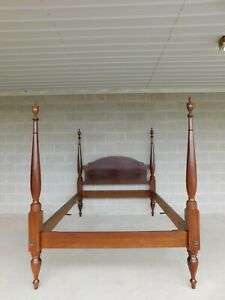 Custom Mahogany Chippendale Style Full Size Poster Bed
