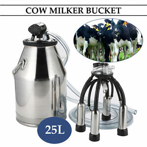 Dairy Cow Bucket Tank Barrel Milker Milking Machine Stainless Steel 25l Dsu