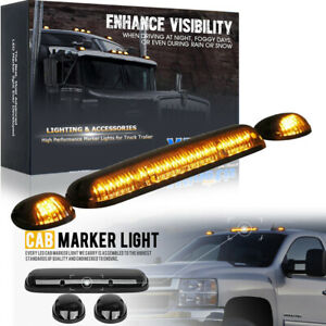 3x Roof Cab Marker Lights Amber Led For 2002 2007 Chevy Silverado Gmc Sierra