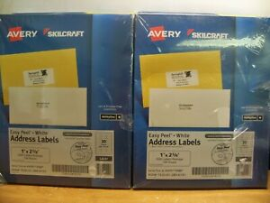 2 X New Avery Skilcraft 5160 Laser 1 X 25 8 3000 X 2 6000 Address Labels