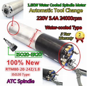 1 8kw 220v Atc Water Spindle Motor Automatic Tool Change Iso20 Er20 80mm 400hz