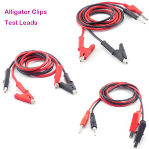 1pair Alligator Clips Crocodile Clamp Banana Plug Test Lead Jumper Wire Cable