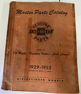 1929 1953 Chevrolet Master Parts And Accessories Catalog Book Six Cylinder Model
