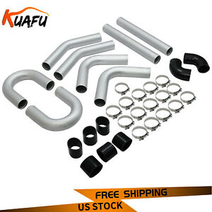Universal 3 76mm Polished Aluminum Silver Intercooler Pipe Kit Hose Clamp