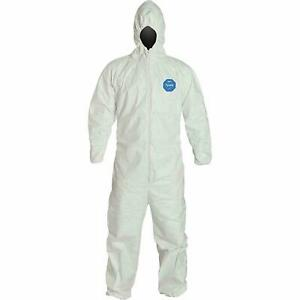 Tyvek Ty127s Dupont Tyvek Coveralls With Attached Hoodl M l Size 1 Suit Only