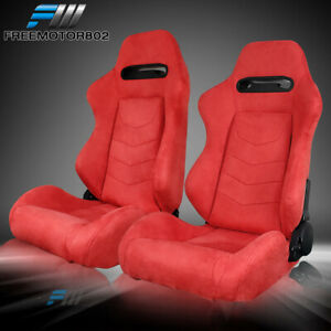Adjustable Universal Racing Bucket Seats Red Suede Pair 2 Dual Lock Sliders