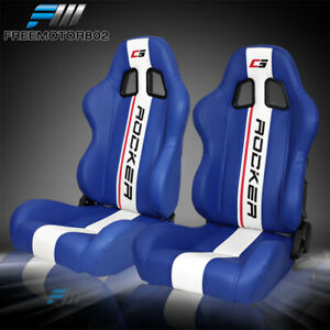 Adjustable Universal Racing Bucket Seats Blue White Pu Pair 2 Dual Sliders