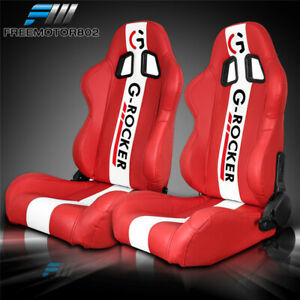 Adjustable Universal Racing Bucket Seats Red White Pu Pair 2 Dual Sliders