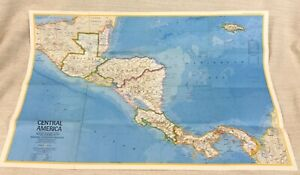 1973 Vintage Map Of Central America Mexico Honduras National Geographic Large