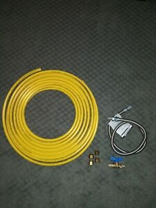 Coated Copper Gas Line 1 2 50ft Includes Flare Nuts Valve And Flex Connector