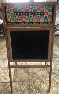 Antique Child S Folding Flip Desk Blackboard Chalkboard Whiteboard