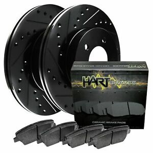 For 2000 2002 Dodge Dakota Durango Front Black Hart Brake Rotors ceramic Pads