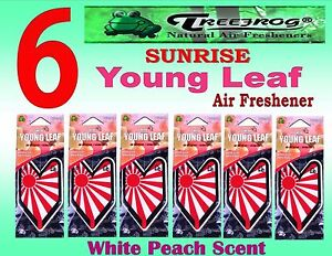 6 Packs Treefrog Sunrise Young Leaf Car Air Freshener White Peach Scent jdm