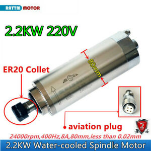 220v 2 2kw Water Cooled Cnc Router Milling Machine Spindle Motor Er20 24000rpm