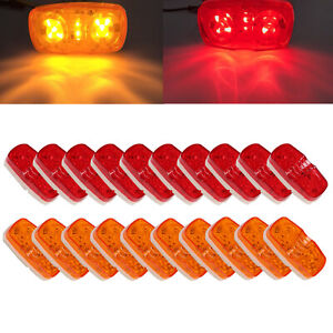 20x Led Trailer Marker Light 10 Diodes Red amber Double Bullseye Clearance