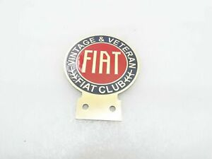 Vintage Fiat Car Club Brass Badge logo emblem
