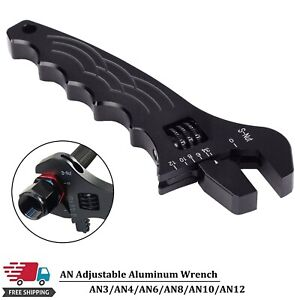 3an 12an Adjustable Wrench Black Aluminum Tool Spanner For Fuel Hose End Fitting