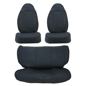 For 1997 1998 1999 2000 2001 2002 Jeep Wrangler Tj 4wd Black Cloth Seat Covers