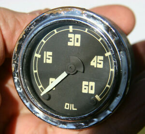 54 59 Gmc Ac Truck Oil Pressure Gauge Vintage Center Pivot Chrome Bezel