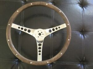 Vintage The 500 Superior Performance Products Walnut Steering Wheel 15 1 2