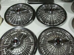 Wire Wheel Covers Oldsmobile 14 Hubcaps 2 Bar Spinner 1965 1966 F 85 Cutlass