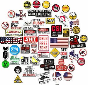 100 Pack Funny Hard Hat Stickers Tool Box Decals Helmet Construction Electrician