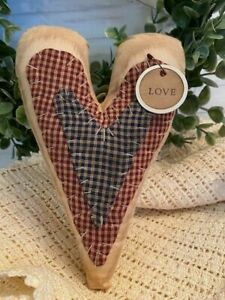 7 Primitive Stitchery Heart Coffee Stained Valentines Day Pillow Tuck 8143b
