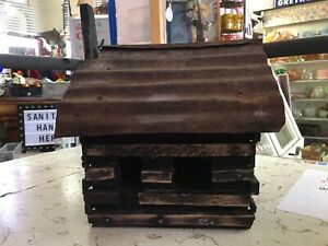 Primitive Rustic Antique Log Cabin Handcrafted Homemade Wood Tin