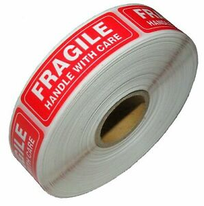 1 Roll 1000 1 X 3 Inches Fragile Handle With Care Stickers Labels Fast Shipping
