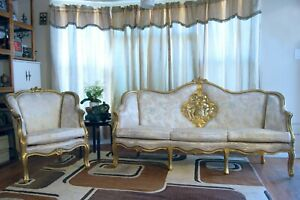 Antique Victorian Carved Sofa Couch And Lounge Chair