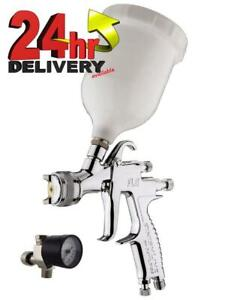 Devilbiss Flg 5 20 Gravity Spray Paint Gun 1 4mm Tip Finer Pressure Regulator