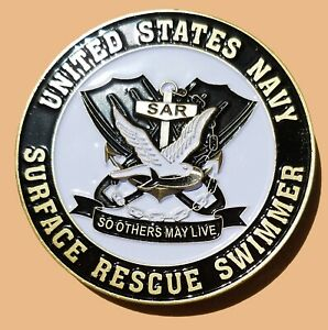US NAVY SURFACE RESCUE SWIMMER CHALLENGE COIN 2quot; 100 $12.99