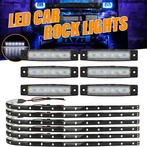 2pcs Amber White 12led Car Truck Emergency Warning Hazard Flash Strobe Light Bar