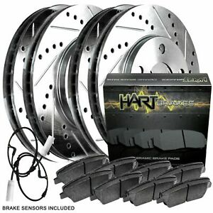 For 2007 2010 Mini Cooper Hart Brakes Front Rear Silver Zinc Cross Drilled