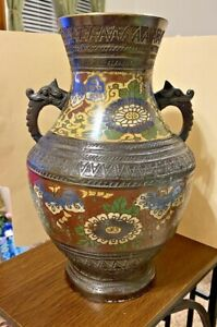 Large Antique Japanese Bronze Cloisonne Vase With Handles