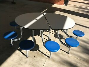 Convertible Mobile Round Cafeteria Table With 10 Attached Chairs 8ft Adult
