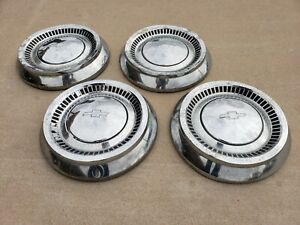 1964 Chevrolet Bel Air Biscayne Small Dog Dish Poverty Hubcaps Center Caps Set 4