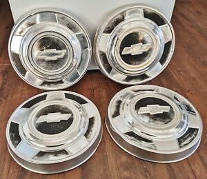 Set Of 4 1973 1987 Chevy Truck Hubcaps Wheel Covers Oem 10 5 Chevy Dog Dish